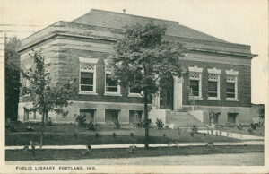 Postcard showing original Carnegie library building in Portland, Indiana