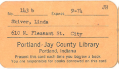 Old Portland-Jay County Library card